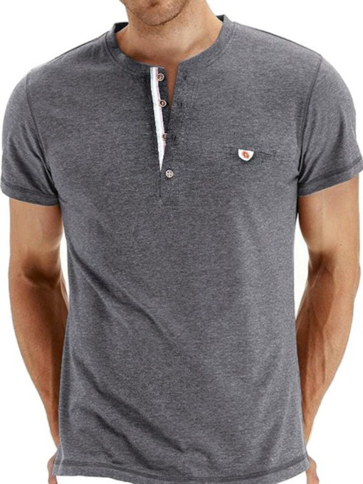 Round Neck Casual Patchwork Solid Color Slim Men's T-shirt