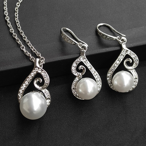 Floral Korean E-Plating Pearls Jewelry Sets (Wedding)