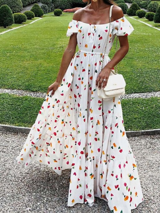 Short Sleeve Off Shoulder Print Floral Women's Maxi Dress