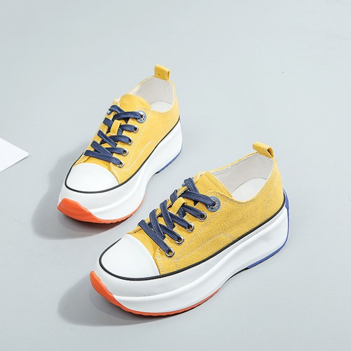 Low-Cut Upper Round Toe Platform Lace-Up Color Block Sneakers