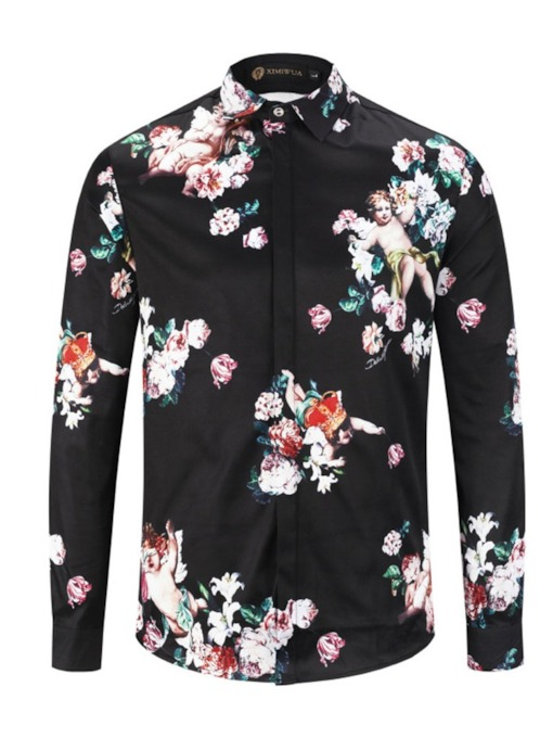 Casual Fashion Floral Print Shirt Slim Fit Long Sleeve Lapel Men's Shirt
