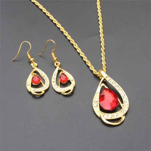 Necklace European Water Drop Wedding Jewelry Set