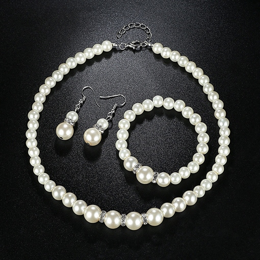 Pearl Inlaid European Necklace Wedding Jewelry Sets