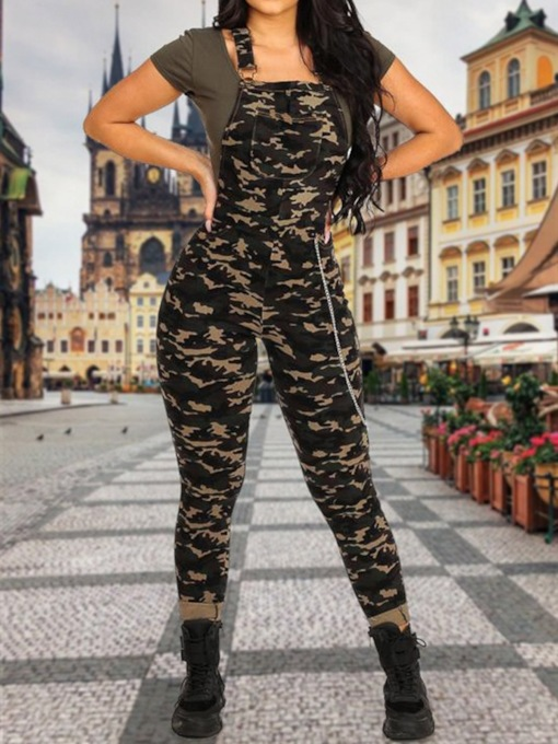 Camouflage Western Print Full Length Skinny Women's Jumpsuit