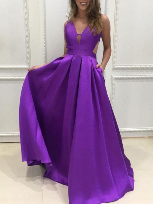 V-Neck Pockets Hollow Bridesmaid Dress 2019