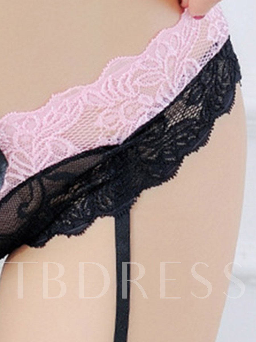 Color Block Lace Thigh-High Stocking Lace Garters Panty
