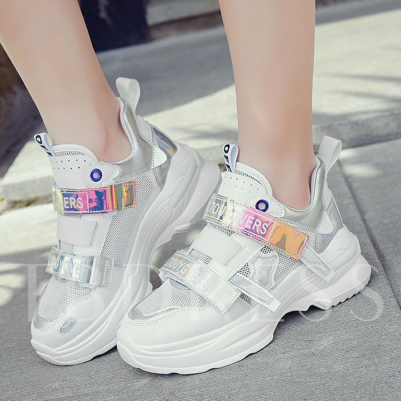 Velcro Letter Round Toe PU Korean Style Chunky Sneakers