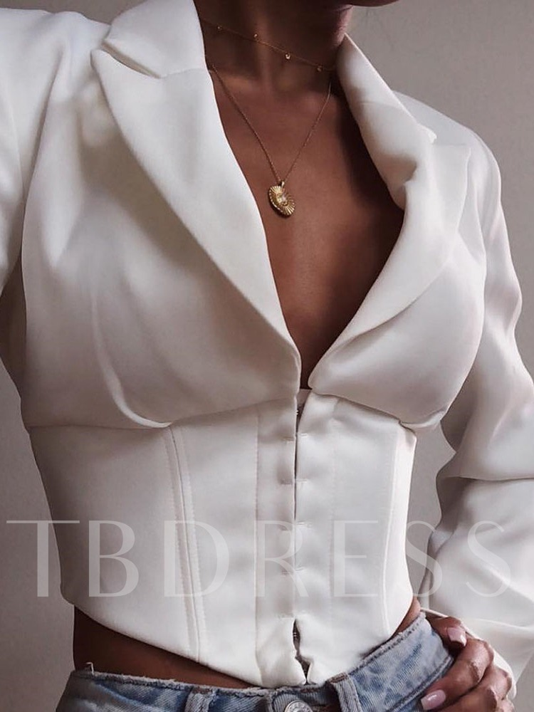 Long Sleeve Plain Double-Breasted Notched Lapel Spring Women's Casual Blazer