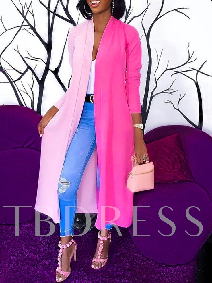 African Fashion Patchwork Wrapped Long Three-Quarter Sleeve Women's Trench Coat