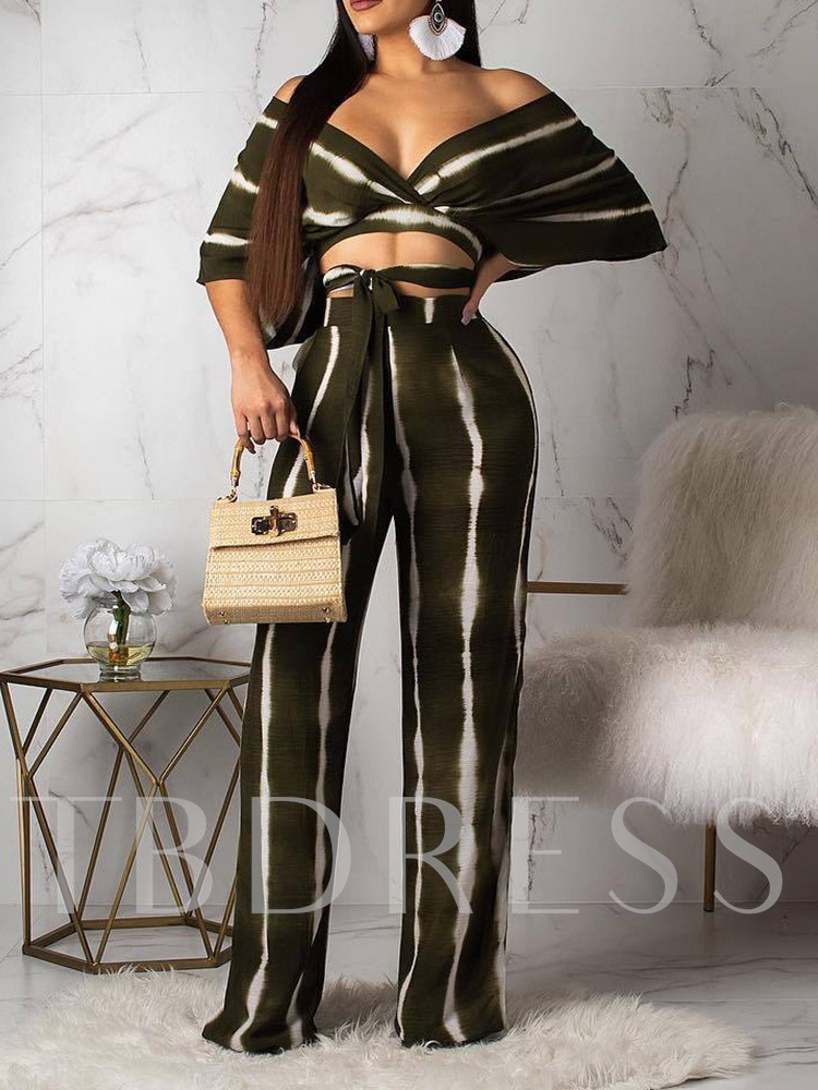 Bowknot Western Pants Stripe V-Neck Women's Two Piece Sets