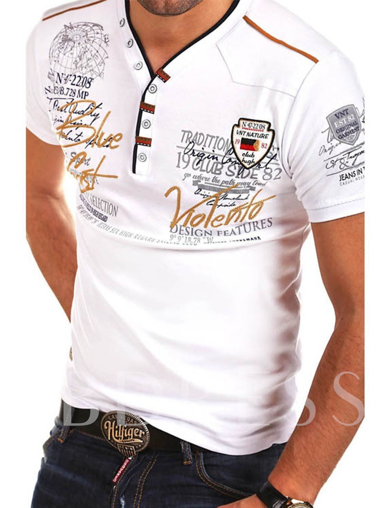 Fashion Print Letter V-Neck Casual Slim Men's T-Shirt