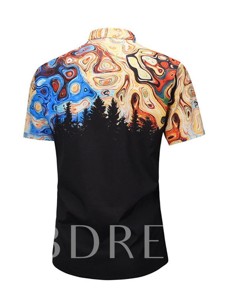 Color Block Revers Fashion Print Einreiher Herrenhemd