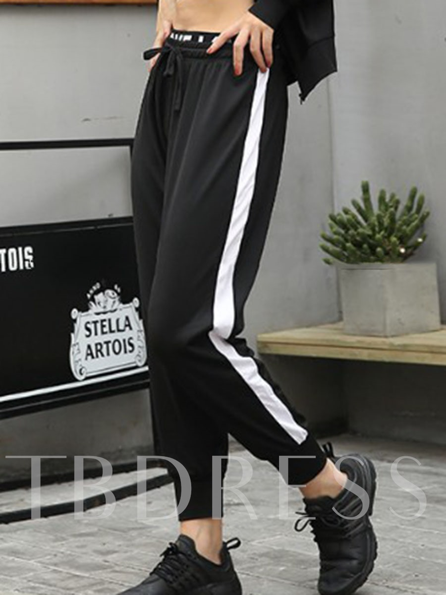 Women's Plus Size Polyester Color Block Running Pants