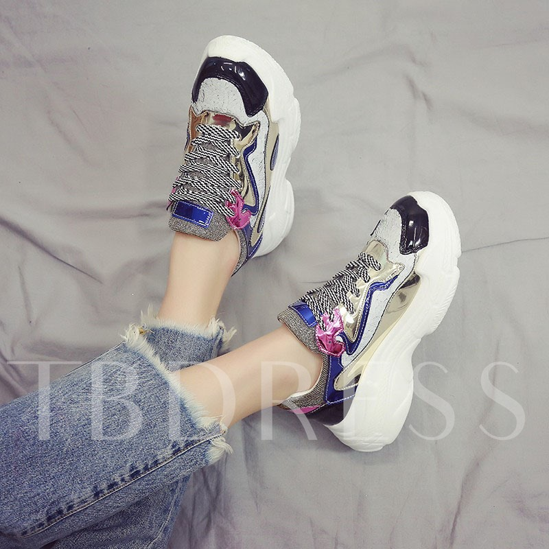 Metallic Round Toe Lace-Up Chunky Sneakers