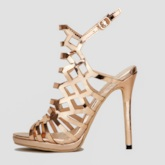 Buckle Strappy Stiletto Heel Peep Toe Metallic Women's Sandals