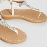 White Rhinestone Thong Flat Sandals