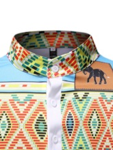Casual Color Block African Fashion Button Stand Collar Straight Men's T-shirt