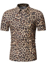 Fashion Print Leopard Cotton Polo Neck Casual Short Sleeves Slim Men's Polo Shirt
