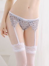 See-Through Scaly Embroidery Garters and Thong
