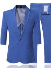 Business Formal Solid color Leisure Blazer One Button Plain Pocket Men's Dress Suit