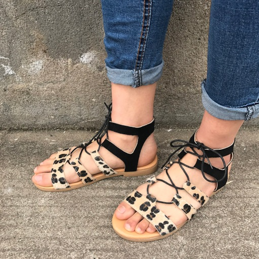 Slip-On Open Toe Block Heel Cross Strap Simple Sandals