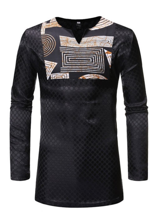Fashion African Minze Style V-Neck Print Polka Dots Casual Long Sleeve Men's T-shirt