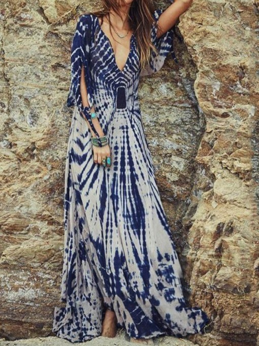 Plus Size Print Three-Quarter Sleeve V-Neck Pullover A-Line Women's Maxi Dress
