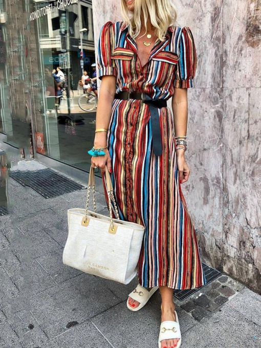 Short Sleeve Lapel Print Puff Sleeve Women's Maxi Dress