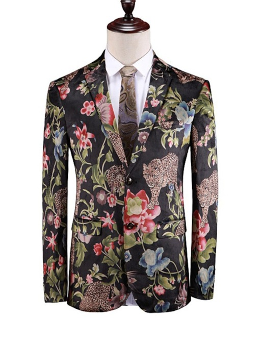 Fashion Animal Floral Print Lapel Single-Breasted Men's Blazer