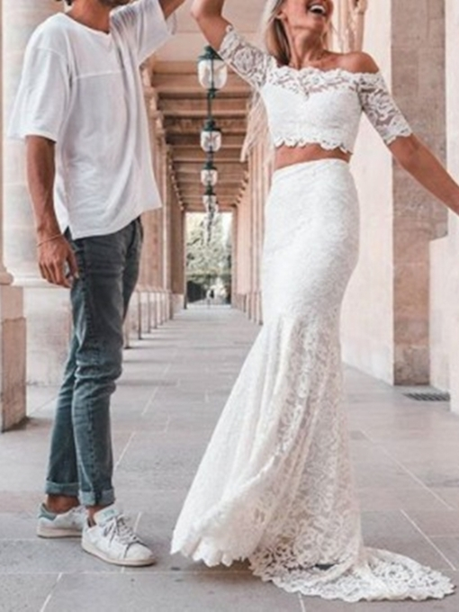 Off-The-Shoulder Lace Half Sleeves Beach Wedding Dress 2019