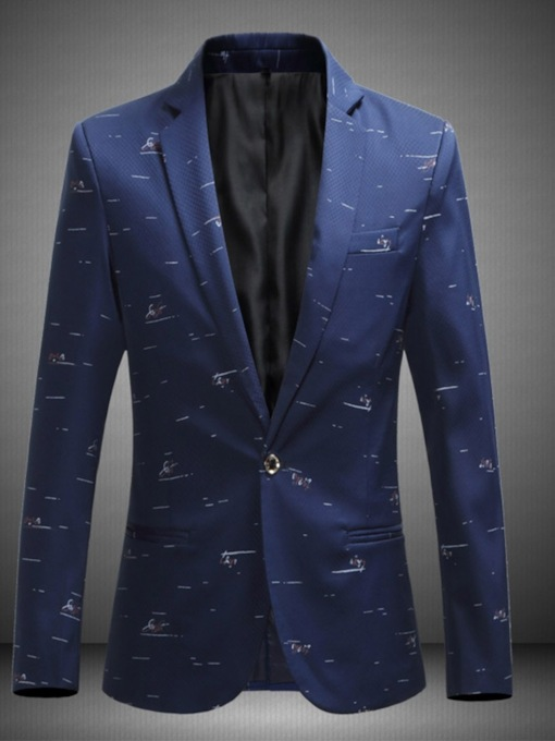 Single-Breasted Color Block Straight Notched Lapel Men's leisure Suit