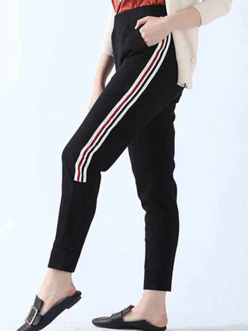 Women's Plus Size Stripe Pockets Sports Pants