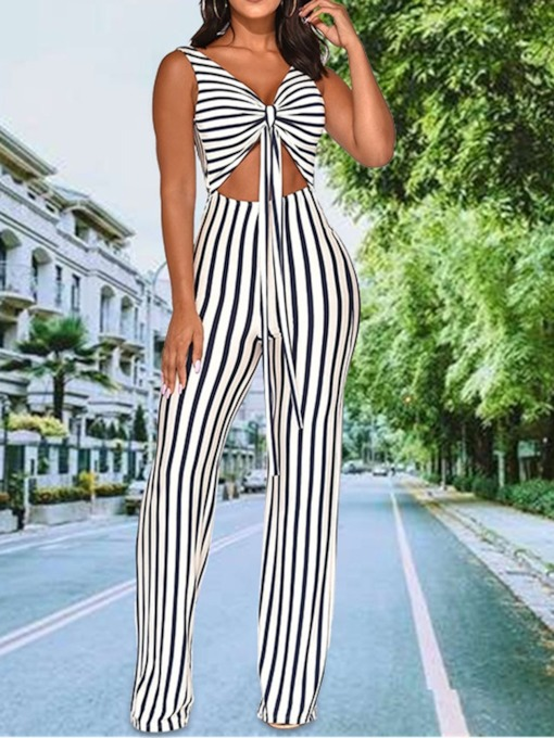 Western Stripe Lace-Up Full Length High Waist Women's Jumpsuit