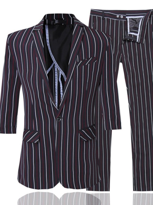 Fashion Stripe Blazer Cotton One Button Men's Dress Suit