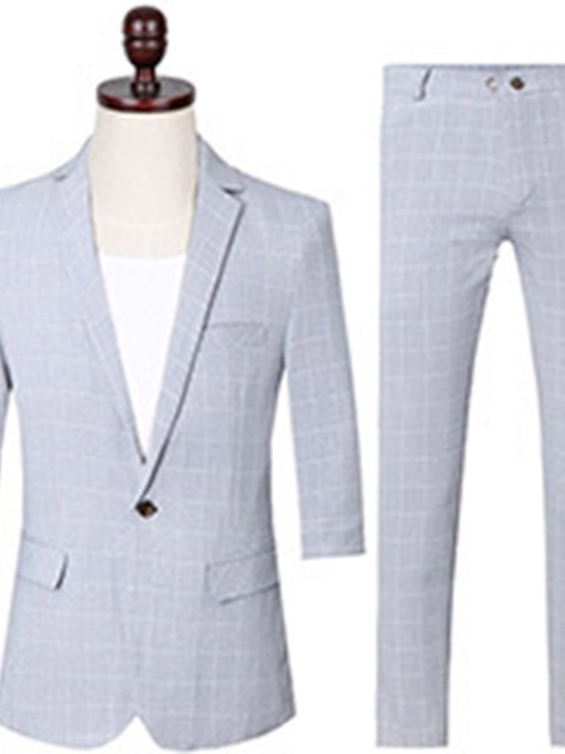 Button Pants One Button Plaid Men's Dress Suit