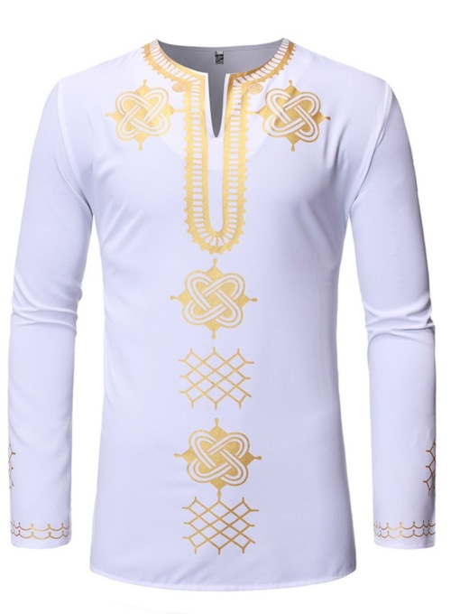 Dashiki African Fashion Style V-Neck Golden Print Casual Color Block Men's Shirt