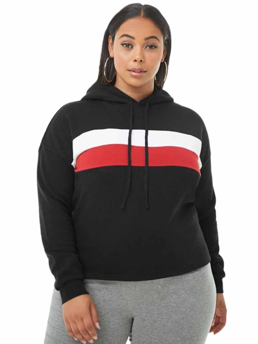 Women's Plus Size Stripe With Hood Pullove Sports Jacket
