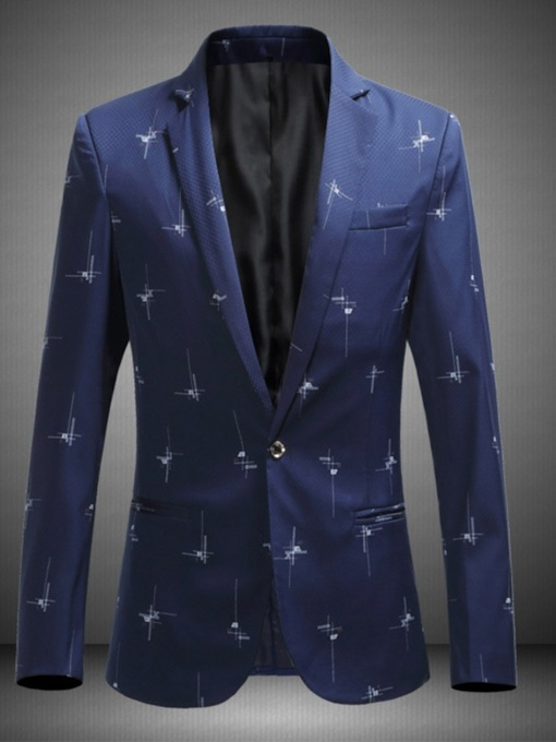Notched Lapel Print Color Block Casual Men's leisure Suit