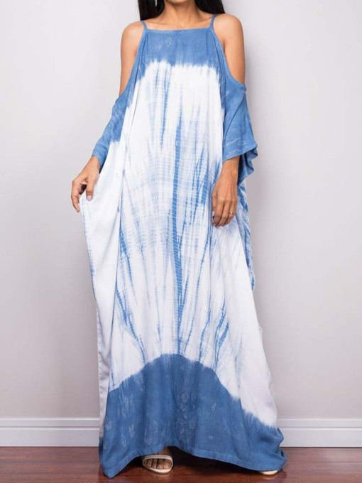 Plus Size Nine Points Sleeve Print Pullover Women's Maxi Dress