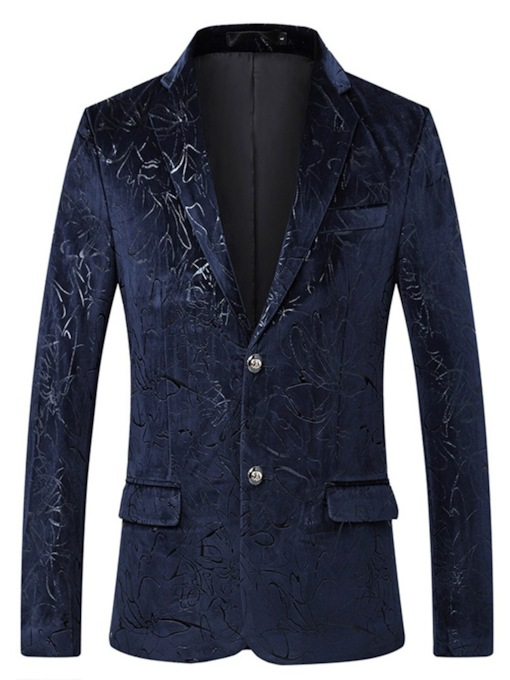 Casual Soft Fabric Straight Floral Print Single-Breasted Men's Blazer
