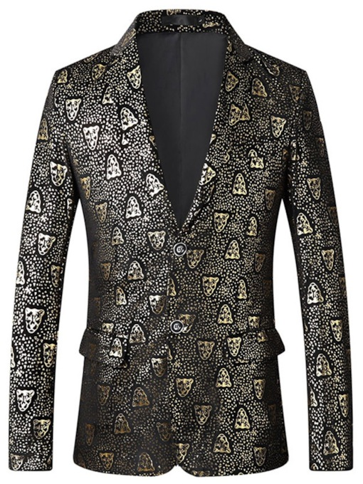 Black Color Golden Print Notched Lapel Button Single-Breasted Fashion Men's Blazer