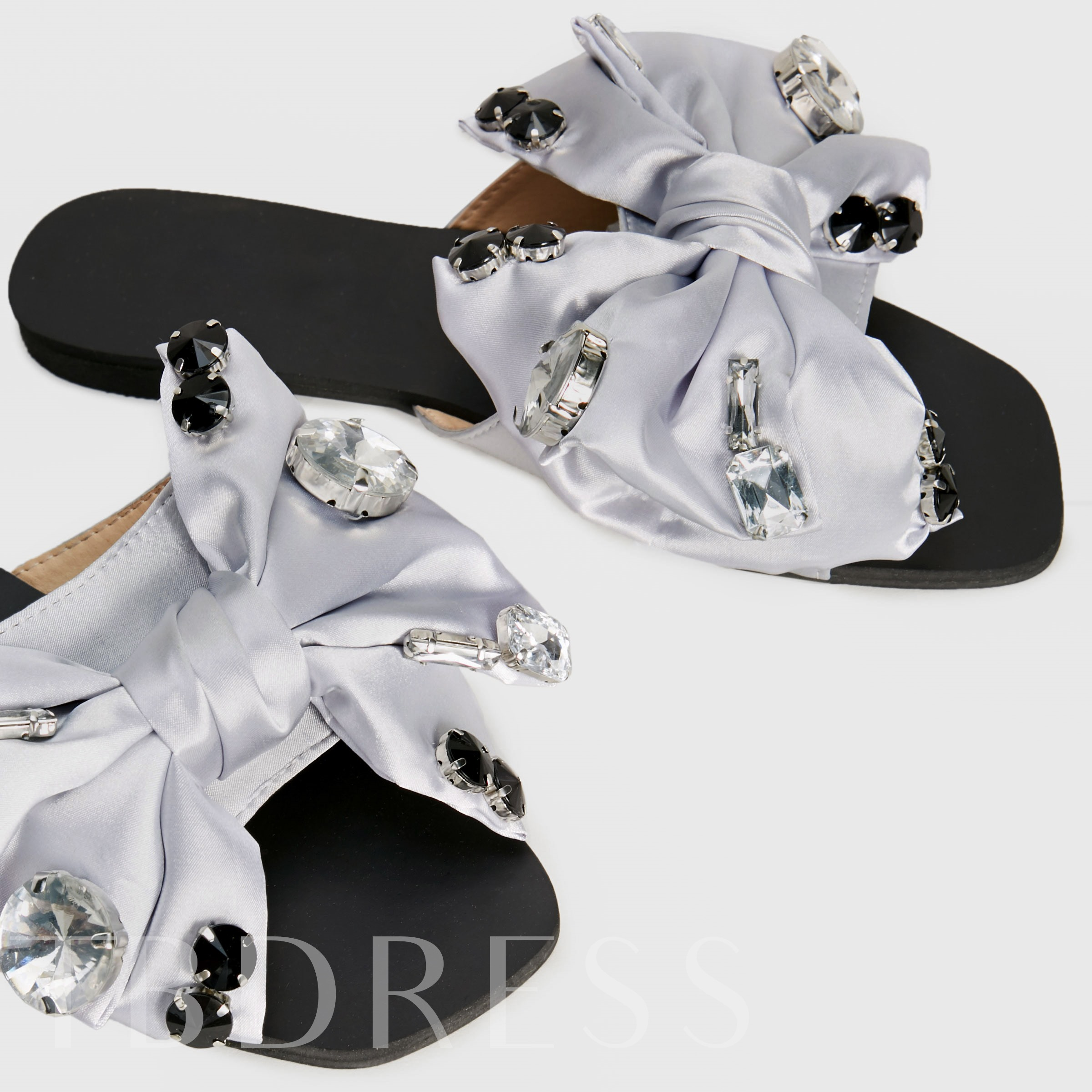 Rhinestone Bow Slip-On Women's Summer Sandals