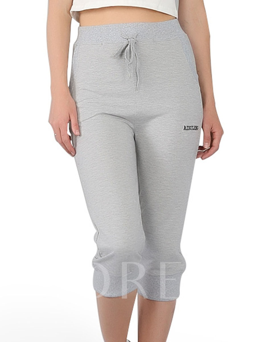 Women's Plus Size Pockets Cotton Mid-Calf Sports Pants
