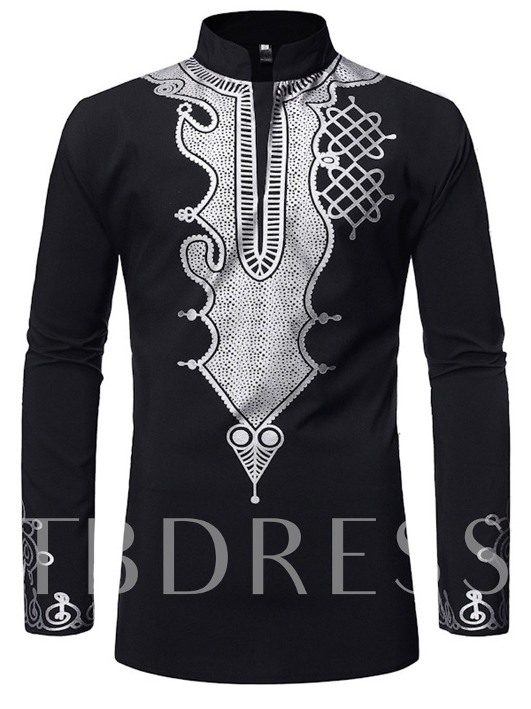 African Fashion Style Print Casual Stand Collar Color Block Slim Men's Shirt