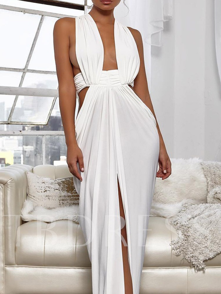 Sleeveless Floor-Length Hollow Waist Women's Maxi Dress
