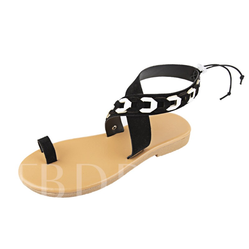 Slip-On Ankle Strap Toe Ring Women's Flat Sandals
