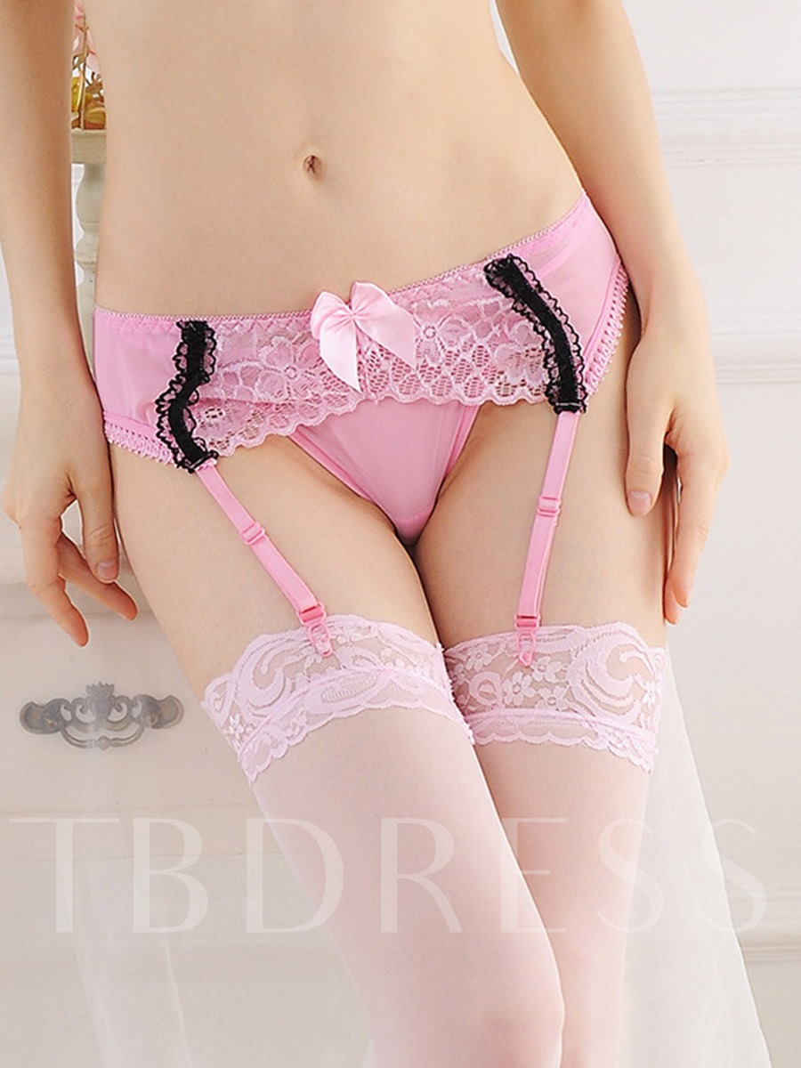 Bowknot Color Block Garters withourt Stockings and Thong
