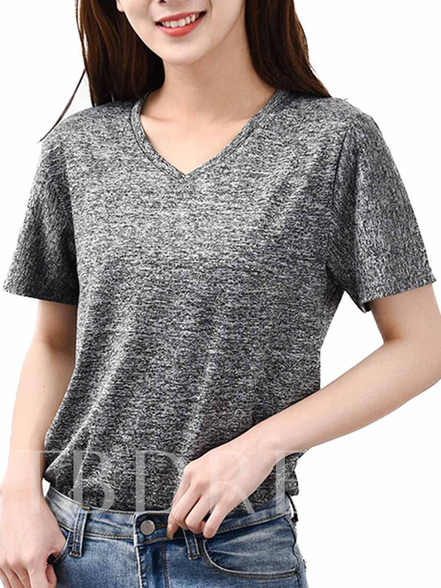 Women's Plus Size Polyester Short Sleeve Sports T-shirt