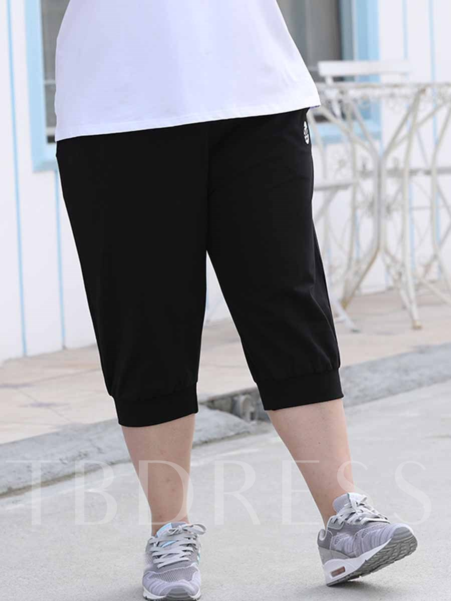 Women's Plus Size Pockets Polyester Summer Cropped Trousers
