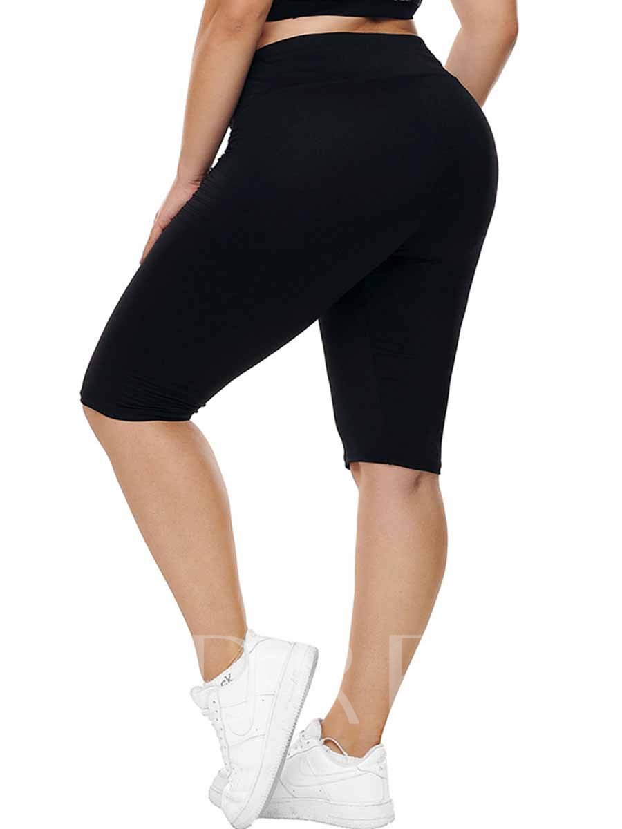 Women's Plus Size Cotton Blends Solid Yoga Pants